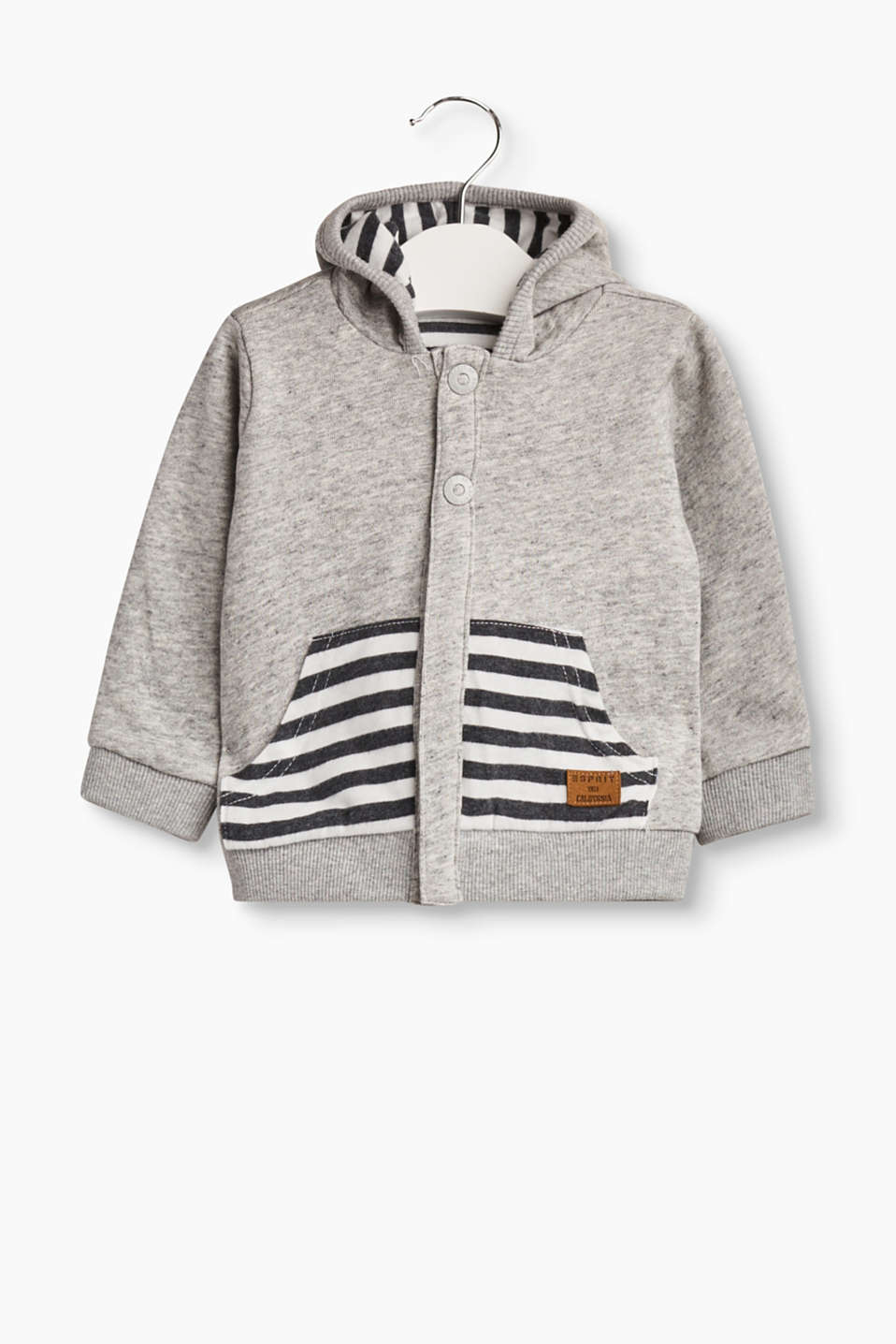 Subtle melange finish on one side, cool stripes on the other: hooded sweatshirt cardigan in 100% cotton