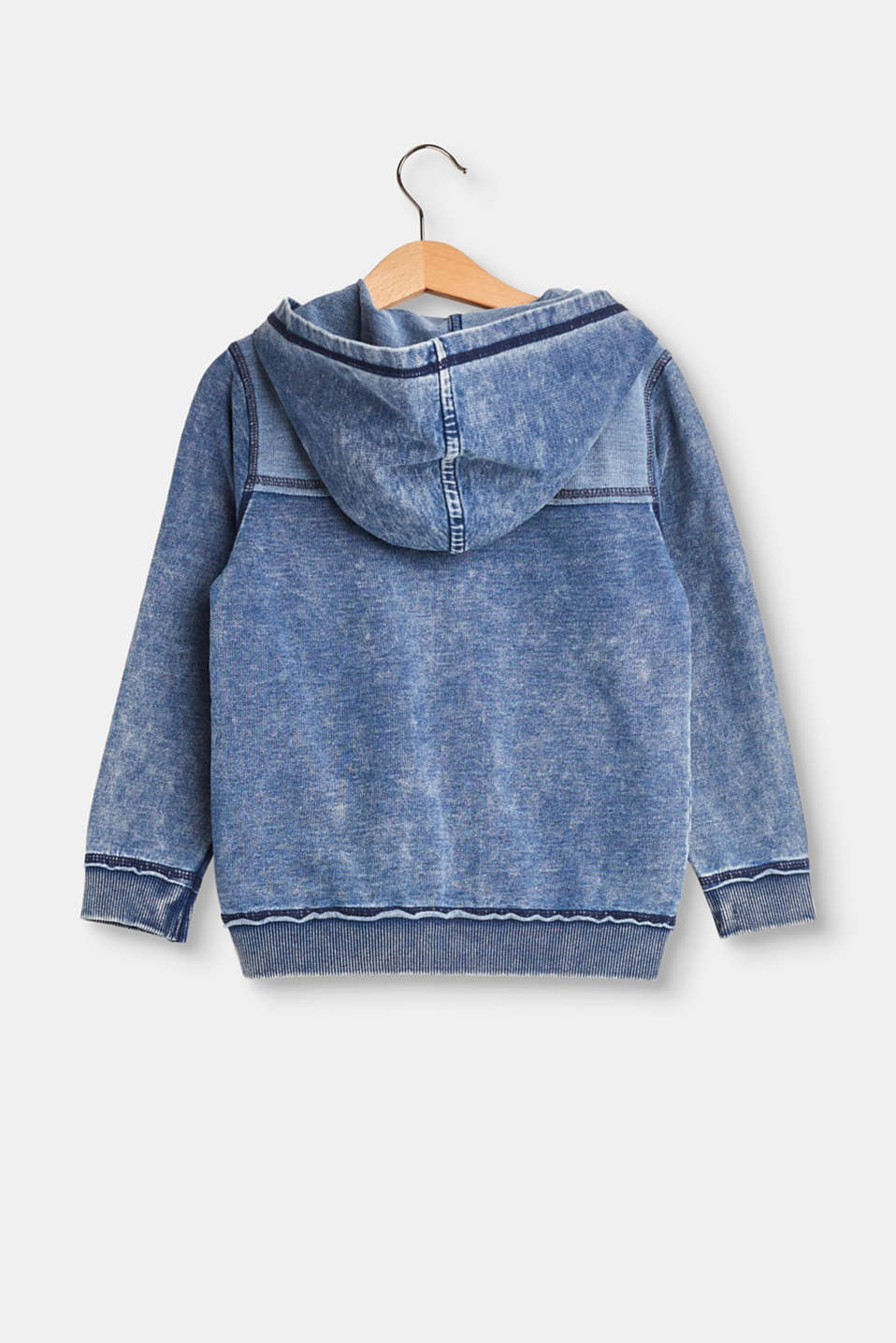 Lightweight denim-look sweatshirt cardigan