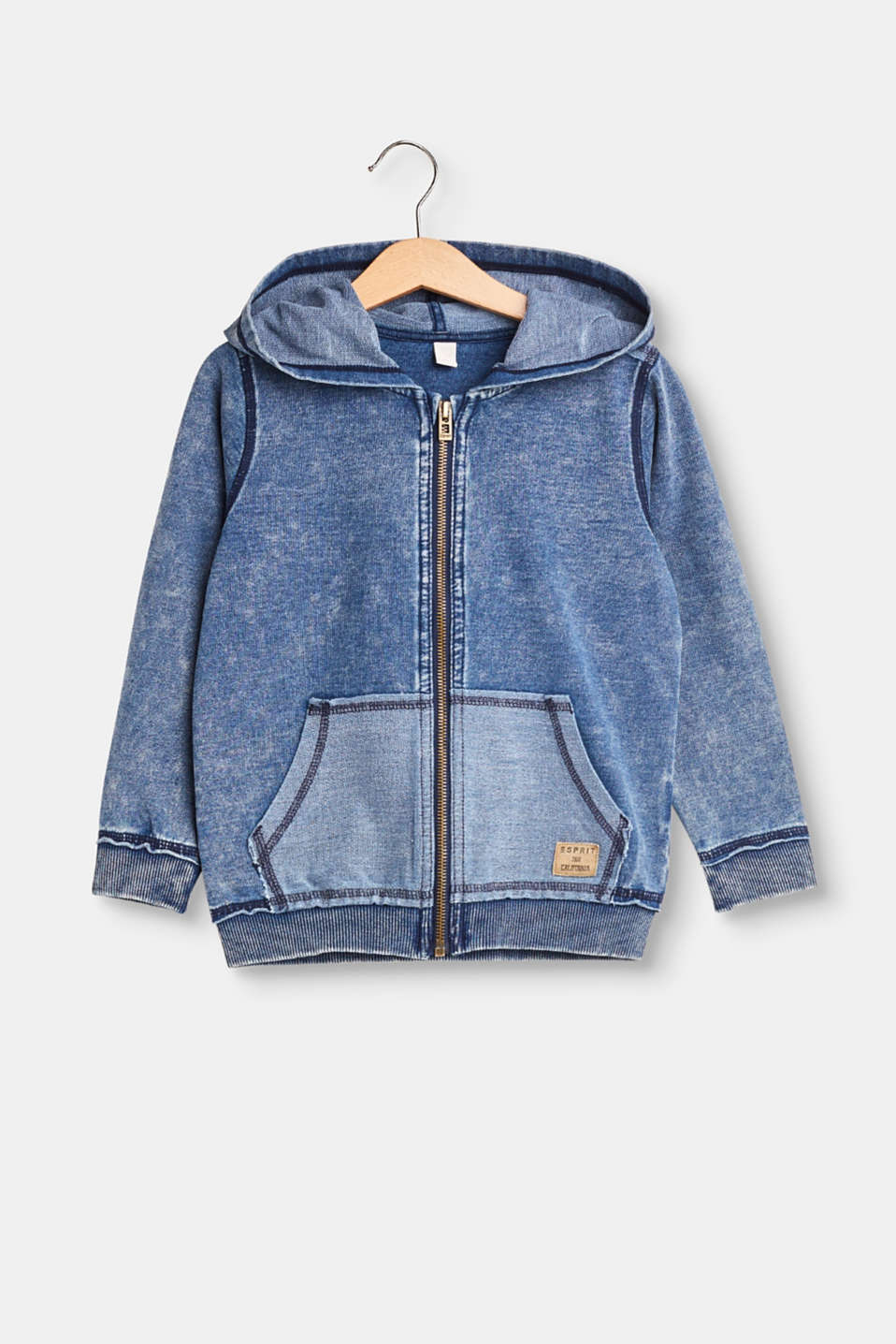 This sweatshirt cardigan in a denim style gets its vintage look from the cool garment wash and unfinished edges!