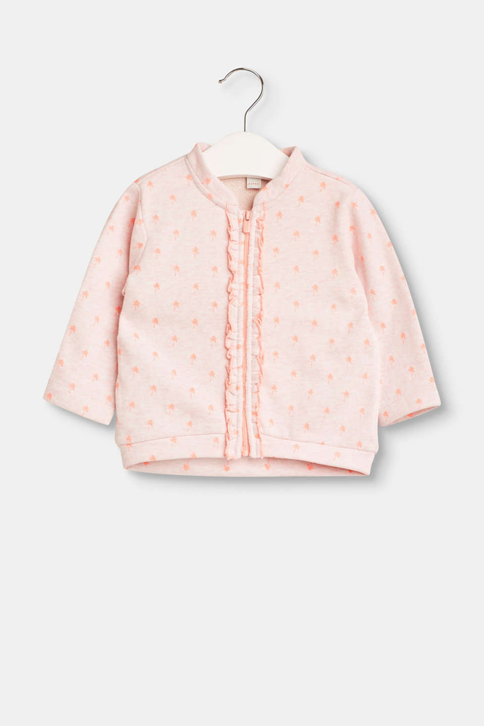 Esprit - Cotton cardigan with a palm tree print and frills