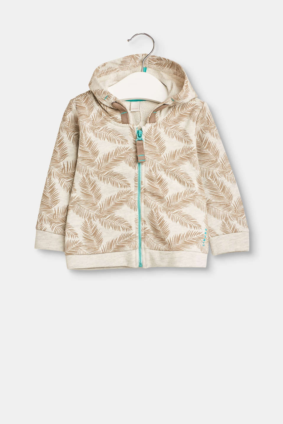 Esprit - Sweat-Cardigan mit Allover Blätter-Print