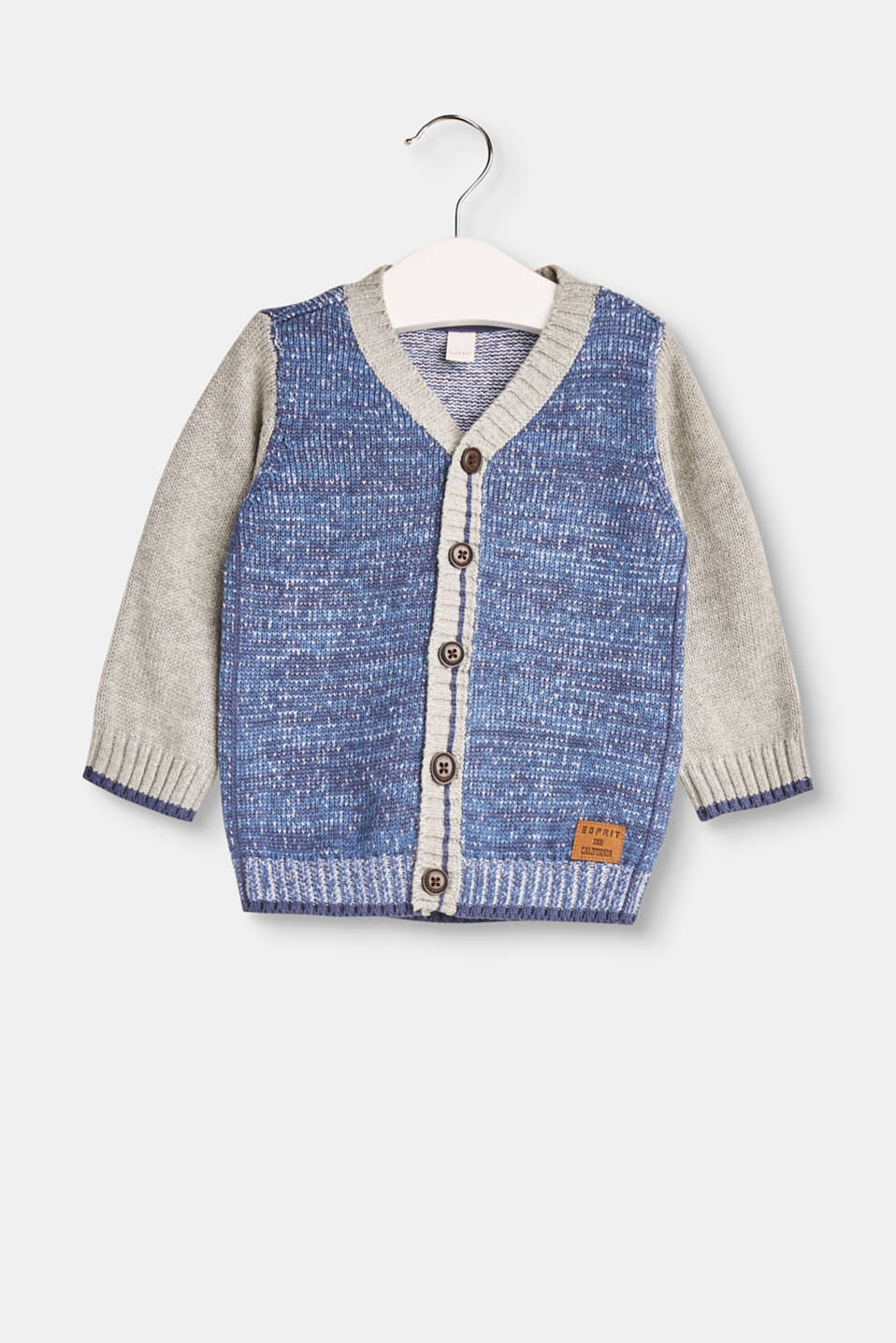 Esprit - Colour block cardigan in 100% cotton