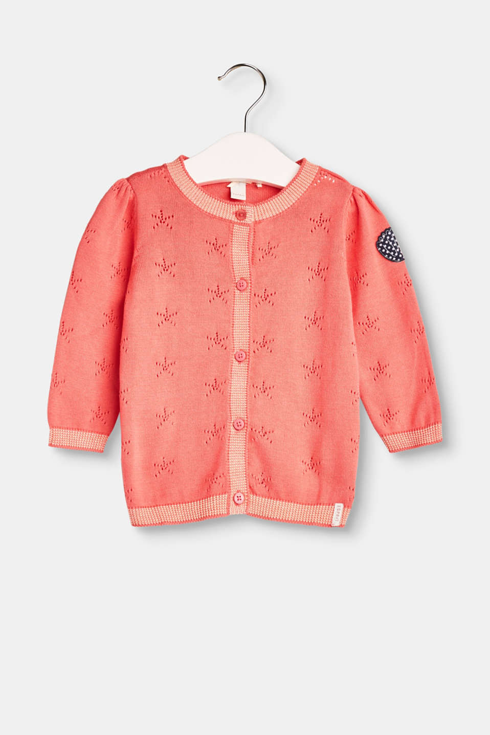 Esprit - Openwork pattern cardigan in pure cotton