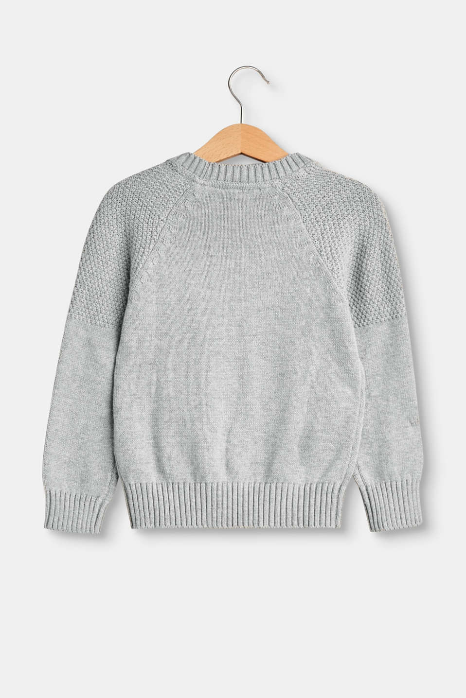 Texture mix jumper in 100% cotton