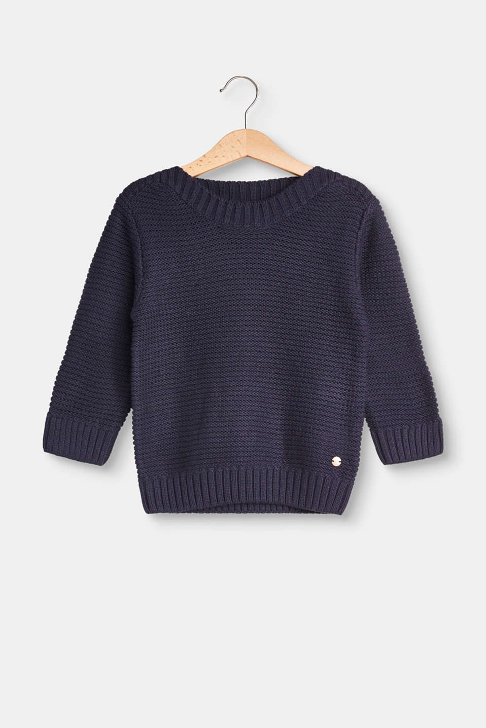 This soft jumper in a reverse garter stitch with a bateau neckline is a great basic.