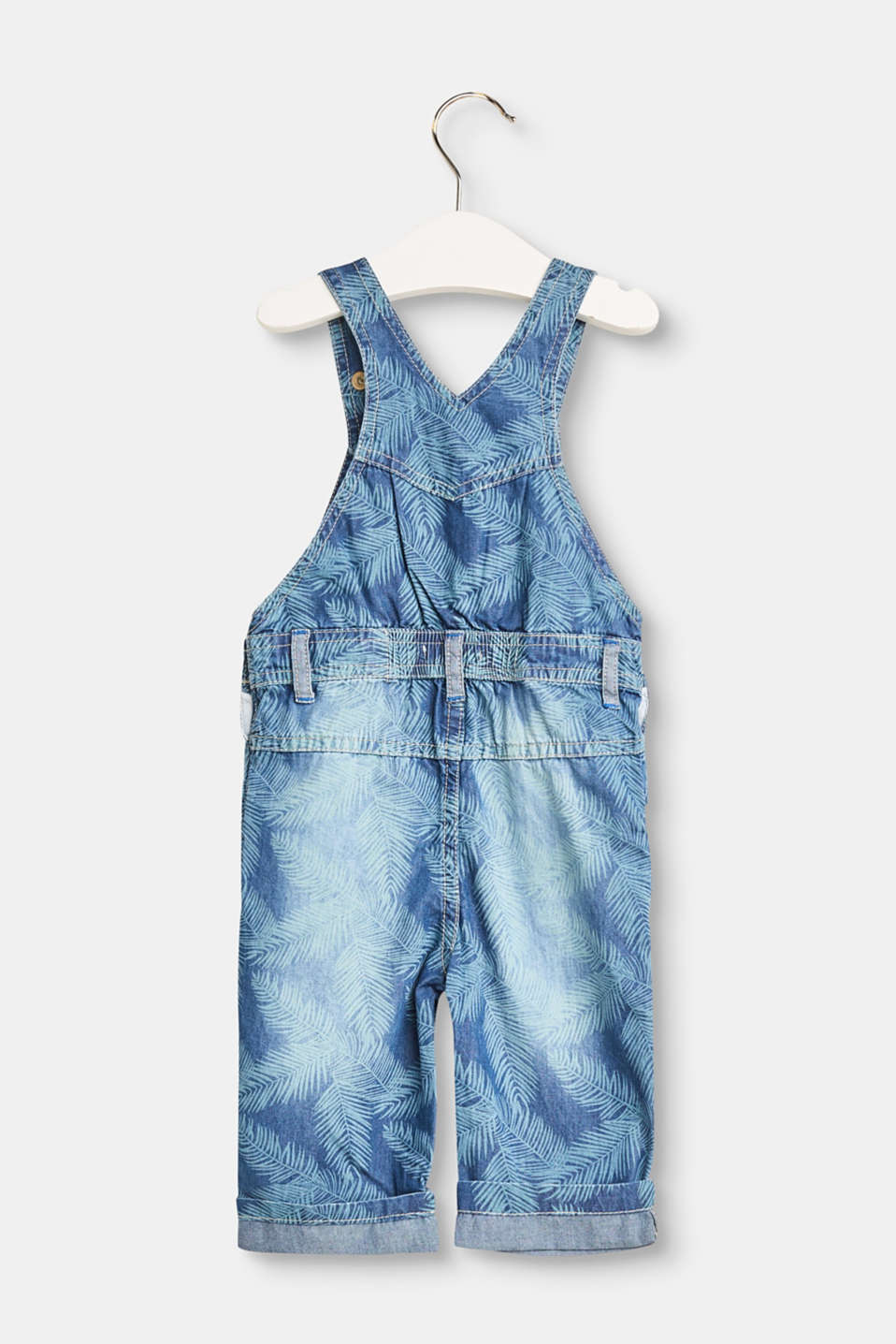 Ultra lightweight denim dungarees with a palm print