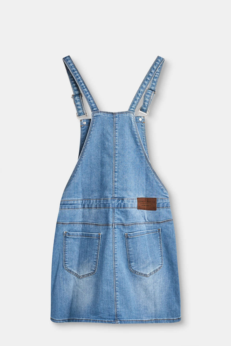 Denim pinafore, adjustable waist