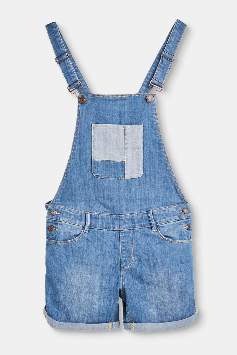 Deze korte tuinbroek van gewassen denim met stretch is casual en modieus.
