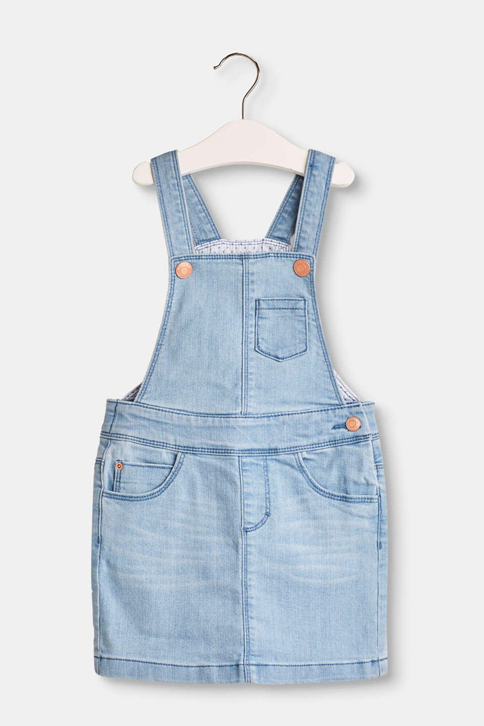 Esprit - Stretch denim pinafore with adjustable waistband