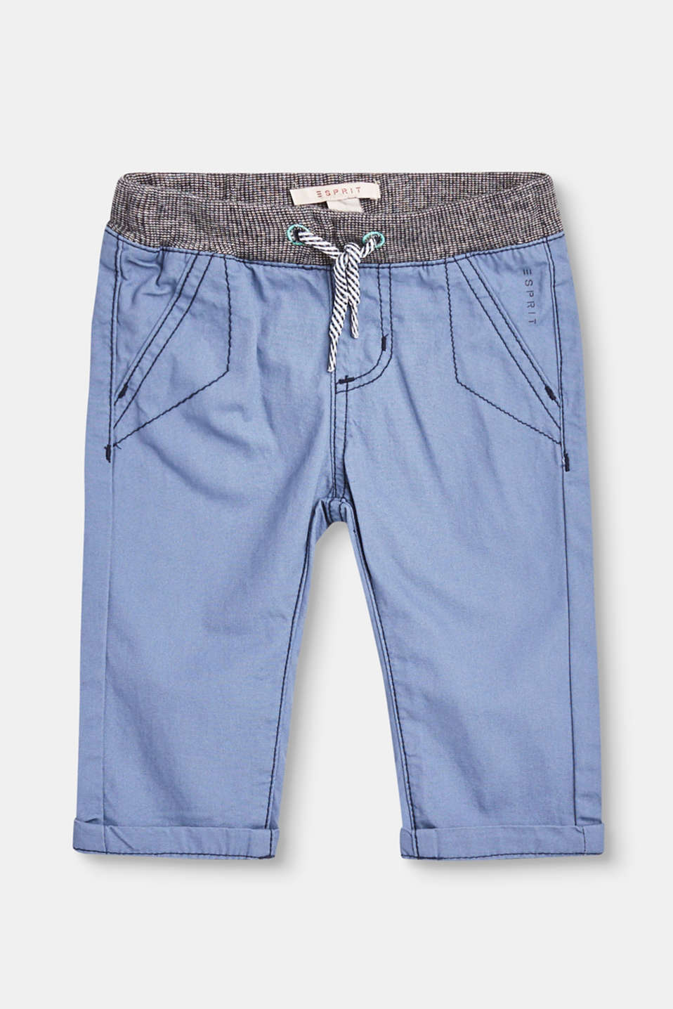 Esprit - 100% cotton twill trousers + stretchy waistband