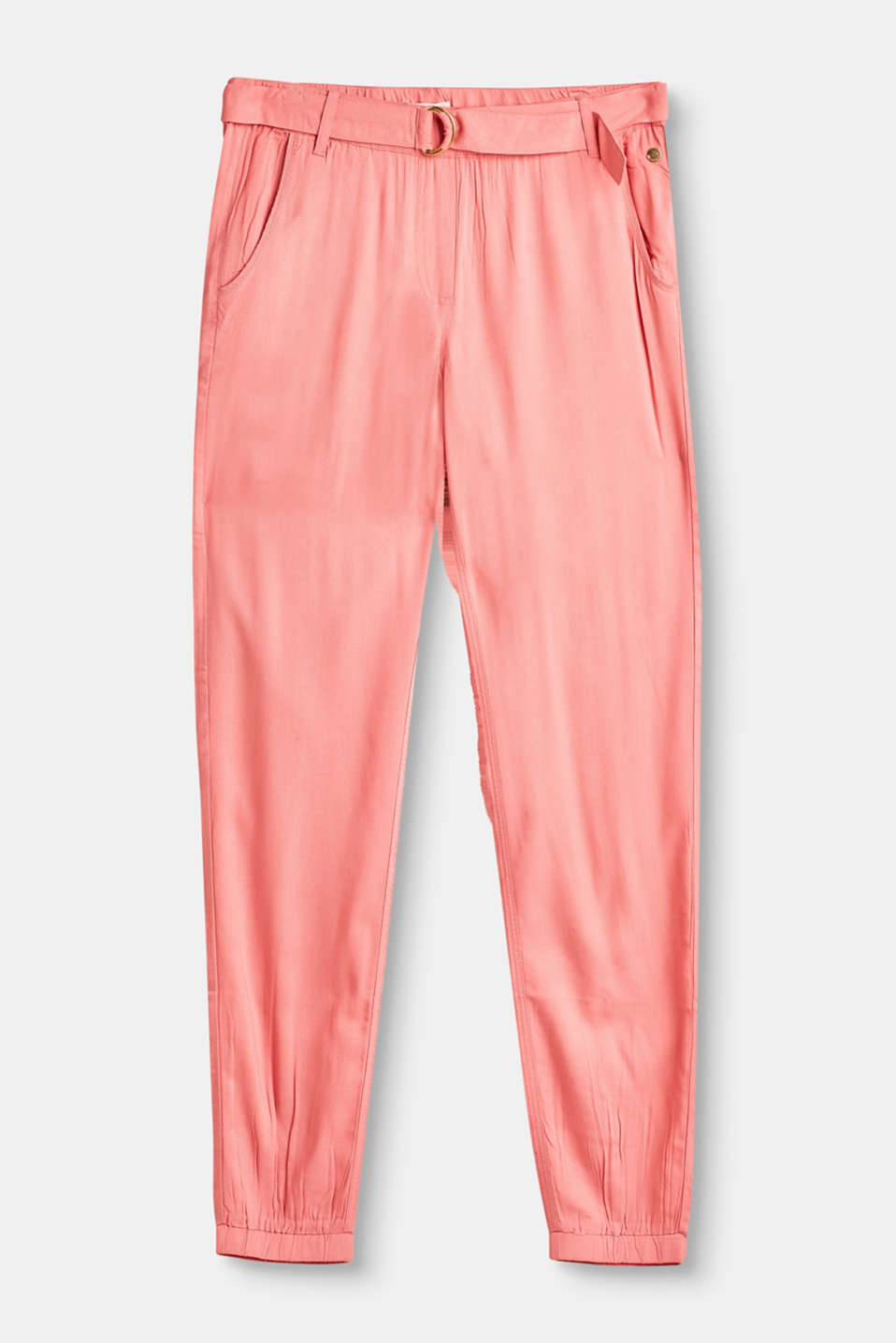 Esprit - Flowing summer trousers with an elasticated waistband and cuffs