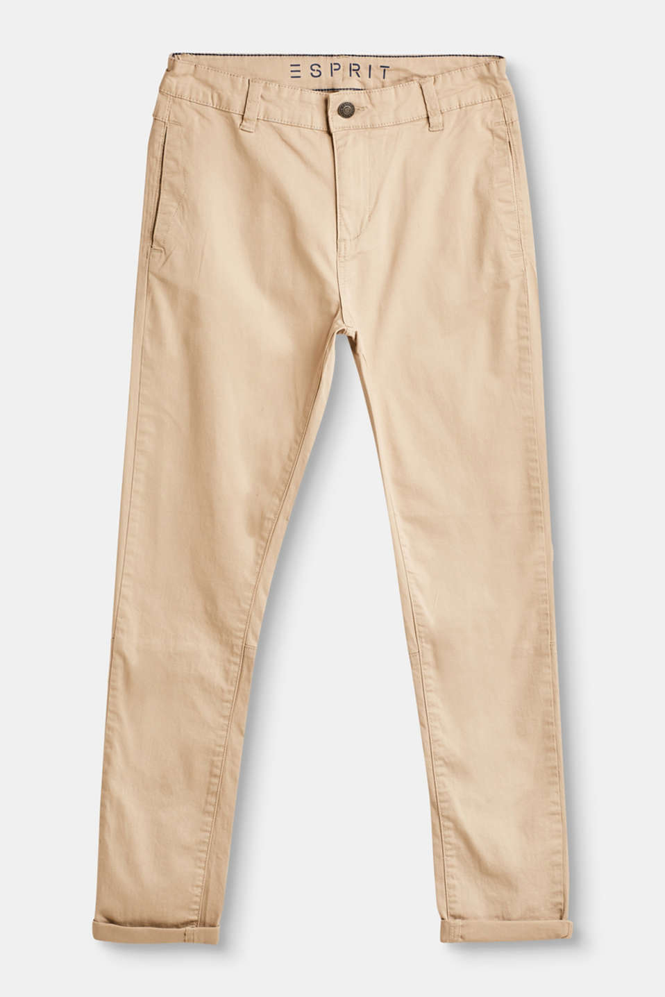 Esprit - Casual chinos with adjustable waistband, 100% cotton