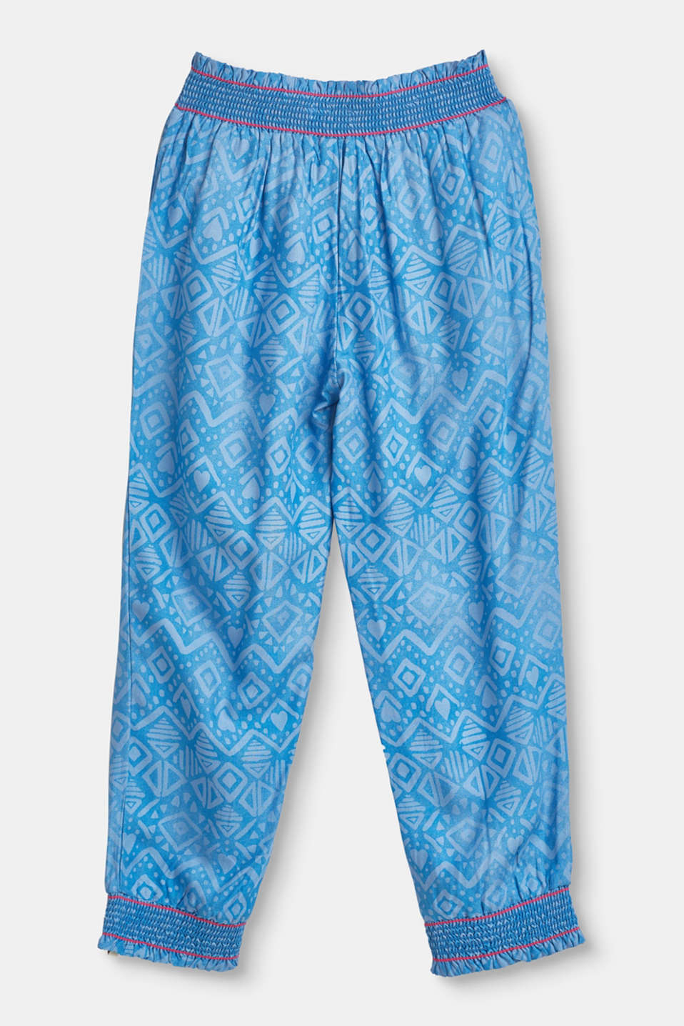 Summer trousers with a tribal print and smocked trims
