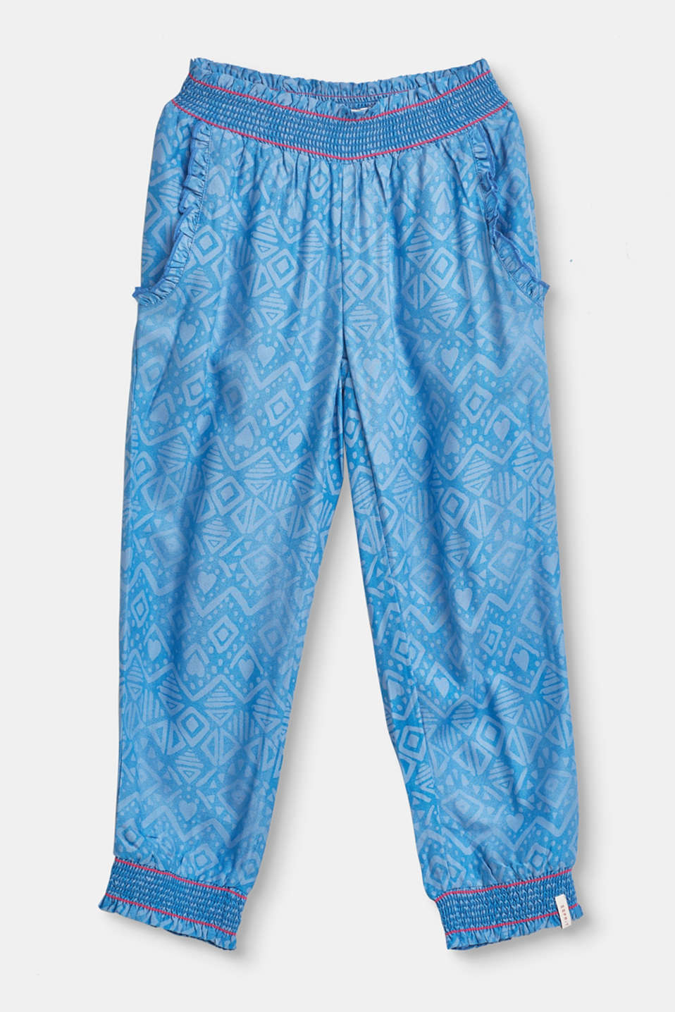 Esprit - Summer trousers with a tribal print and smocked trims