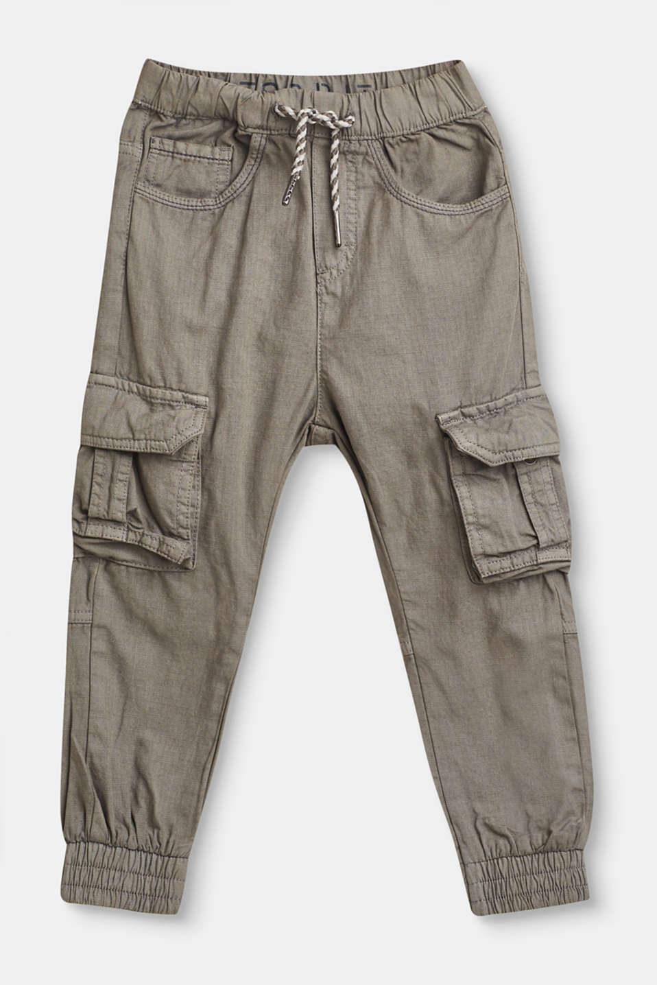 Esprit - Cotton cargo trousers with elasticated waist