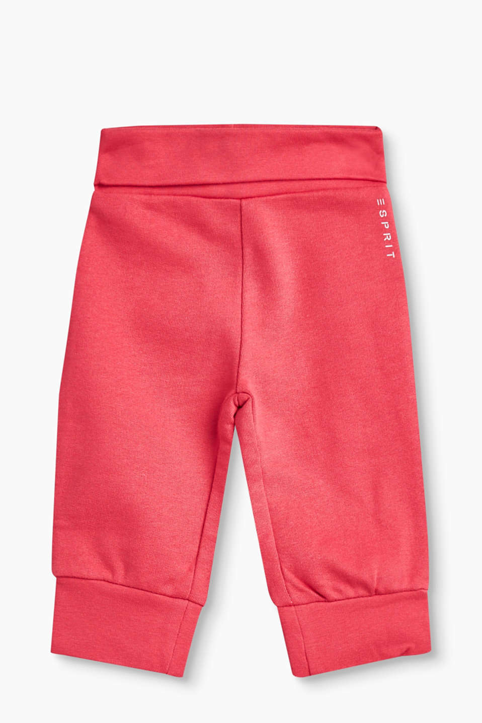 These basic tracksuit bottoms in soft blended cotton nestle snugly around the tummy.