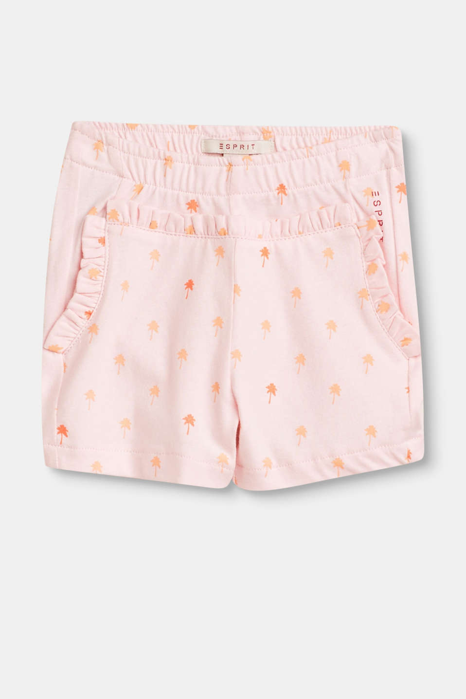 Esprit - Jersey shorts with a print and frills, cotton