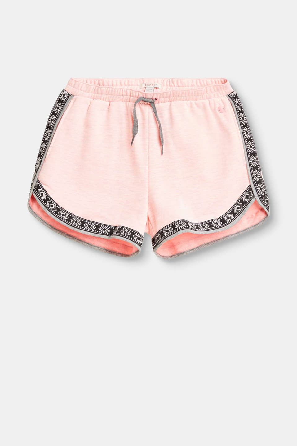 Esprit - Blended cotton-jersey shorts with ethnic borders