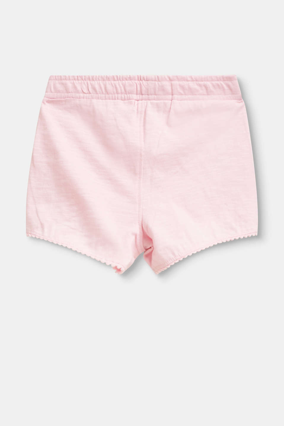Slub jersey shorts with pompom borders