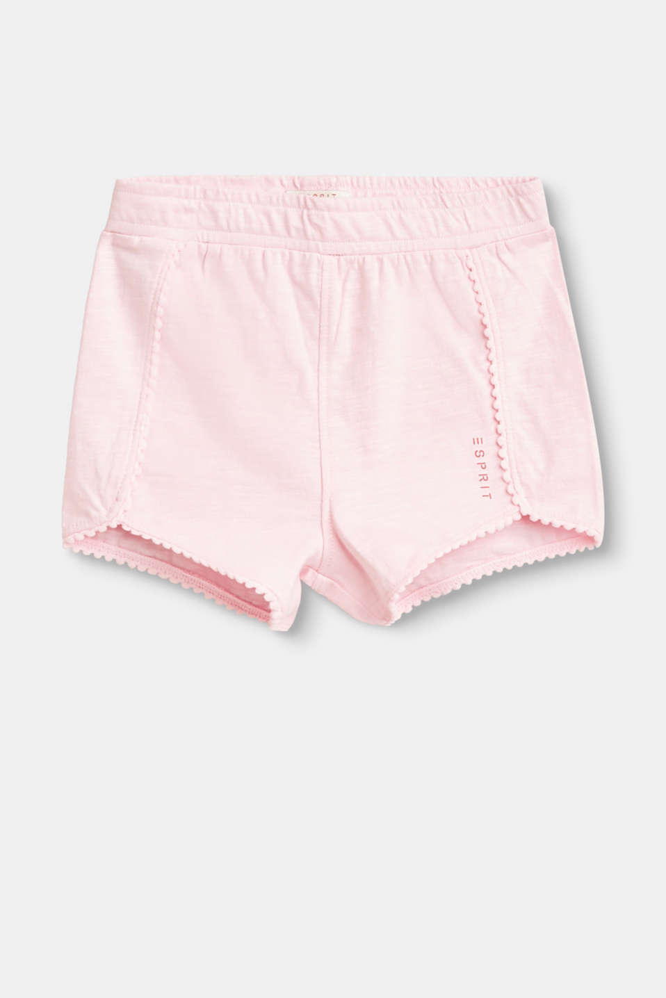 Great summer piece! These charming shorts are characterised by soft slub jersey combined with cute pompom borders.