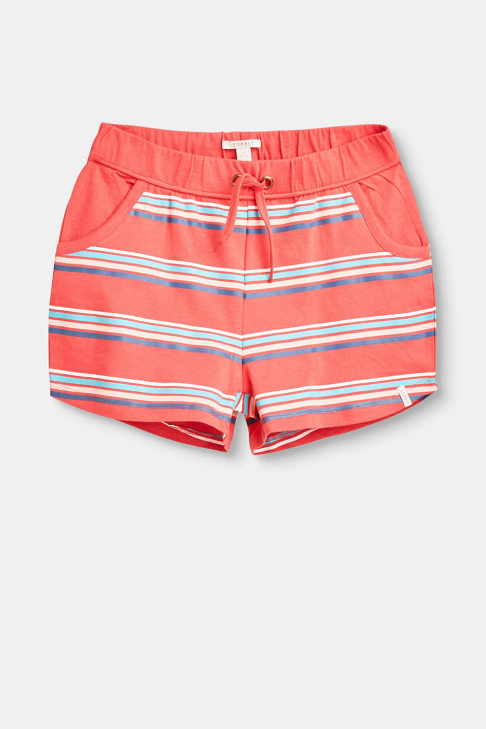 Esprit - Striped jersey shorts in 100% cotton