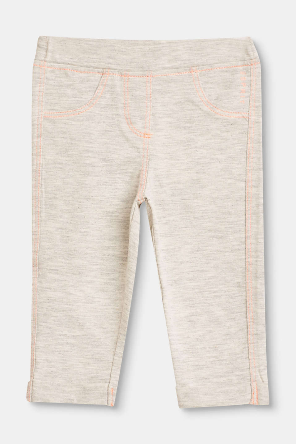 Esprit - Melange leggings with contrasting stitching