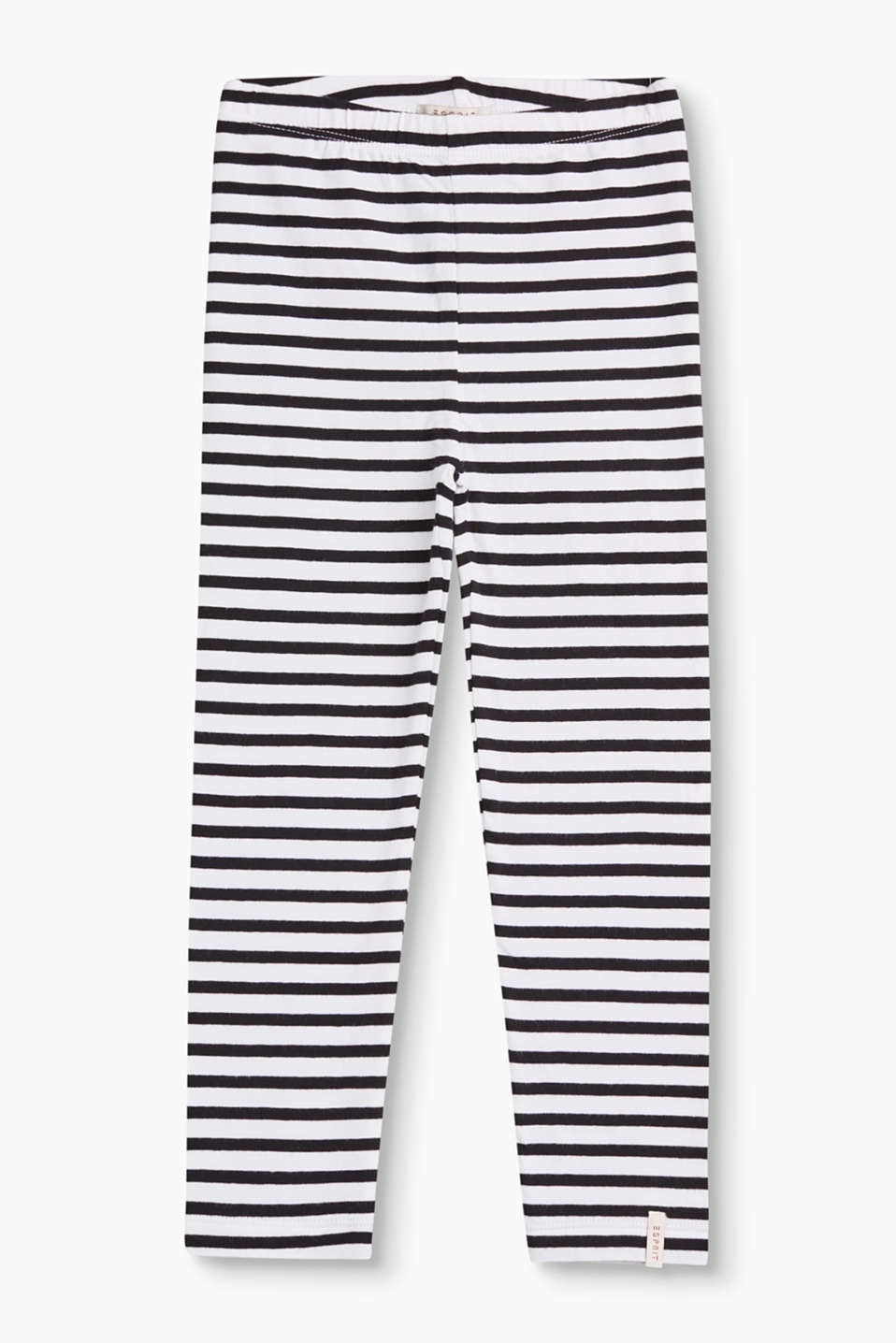 These soft cotton leggings score style points with their cheerful striped look and comfortable percentage of stretch.