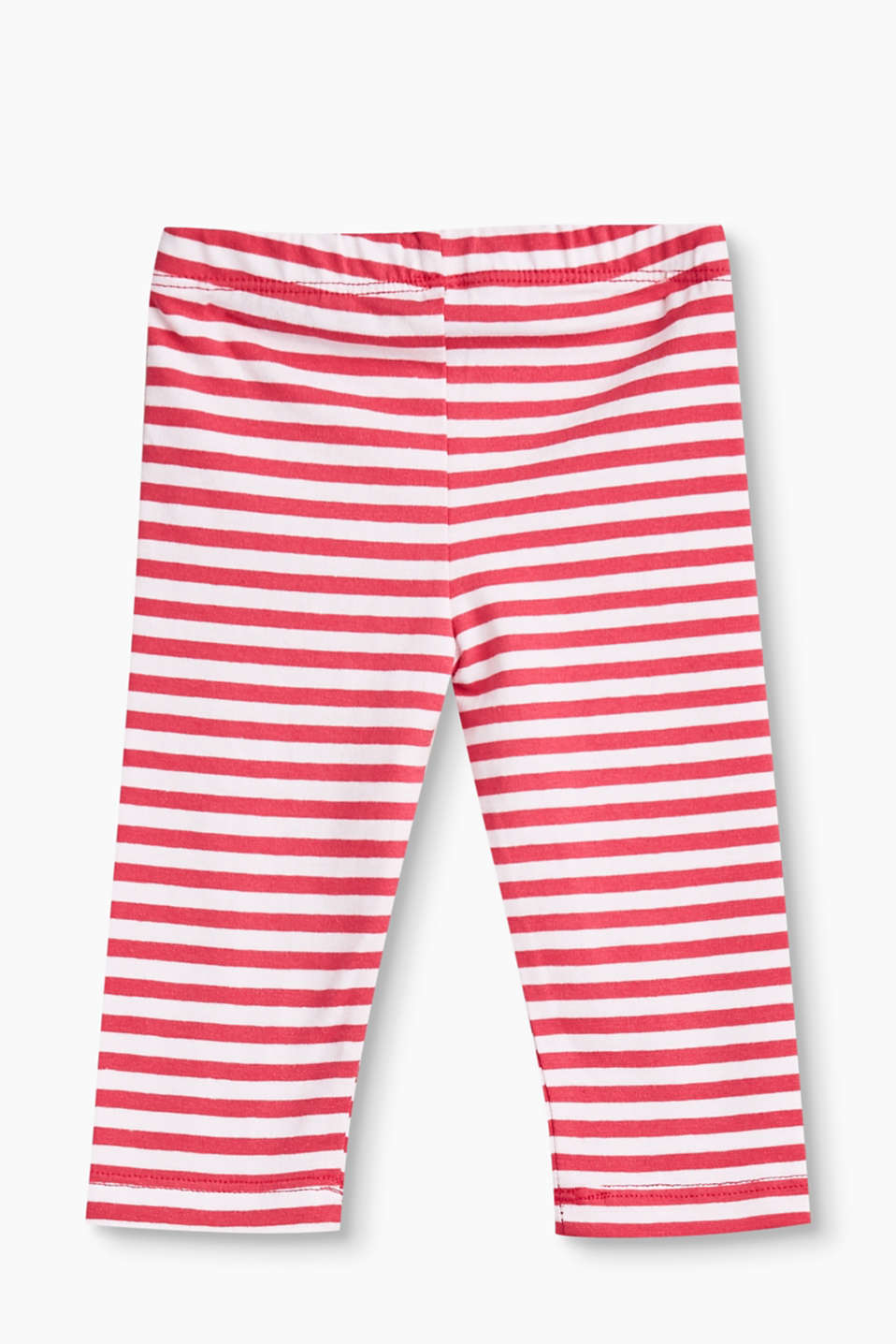 Striped leggings in stretch cotton