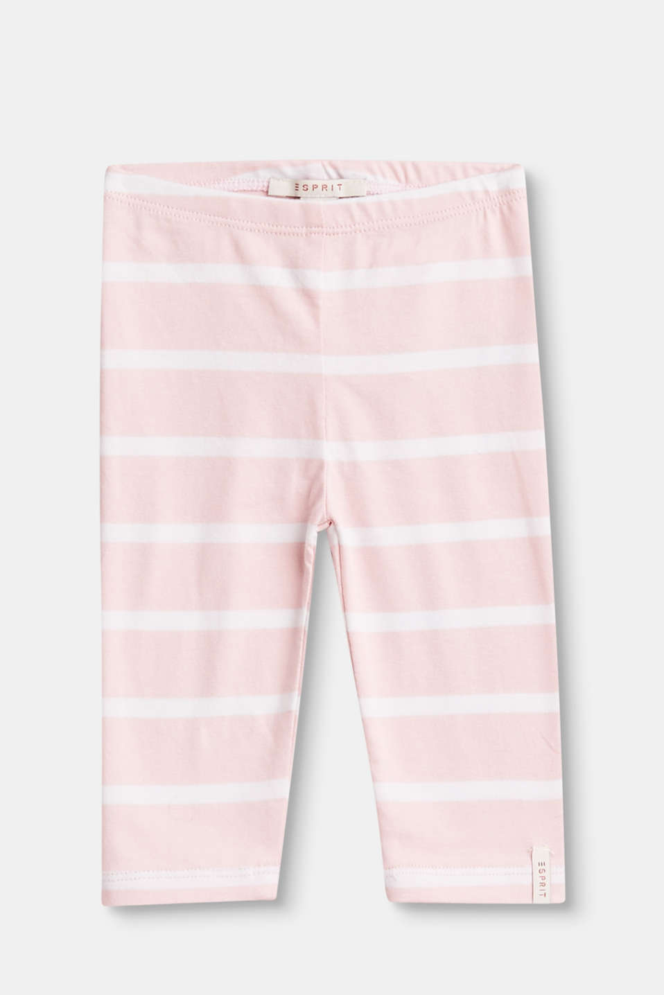 These leggings made of soft cotton jersey with all-over stripes and a percentage of stretch are sweet and comfy.