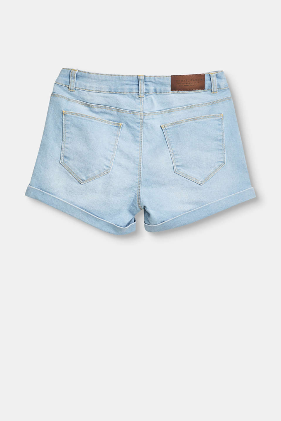 Stretch denim shorts with an adjustable waistband