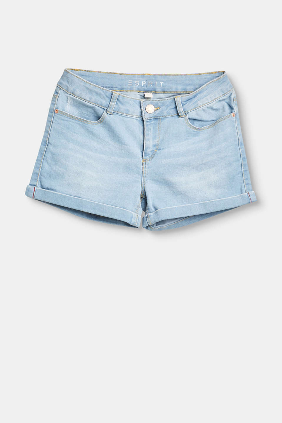 Esprit - Stretch denim shorts with an adjustable waistband
