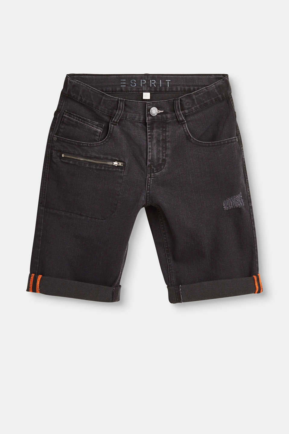Esprit - Denim shorts with distressed effects