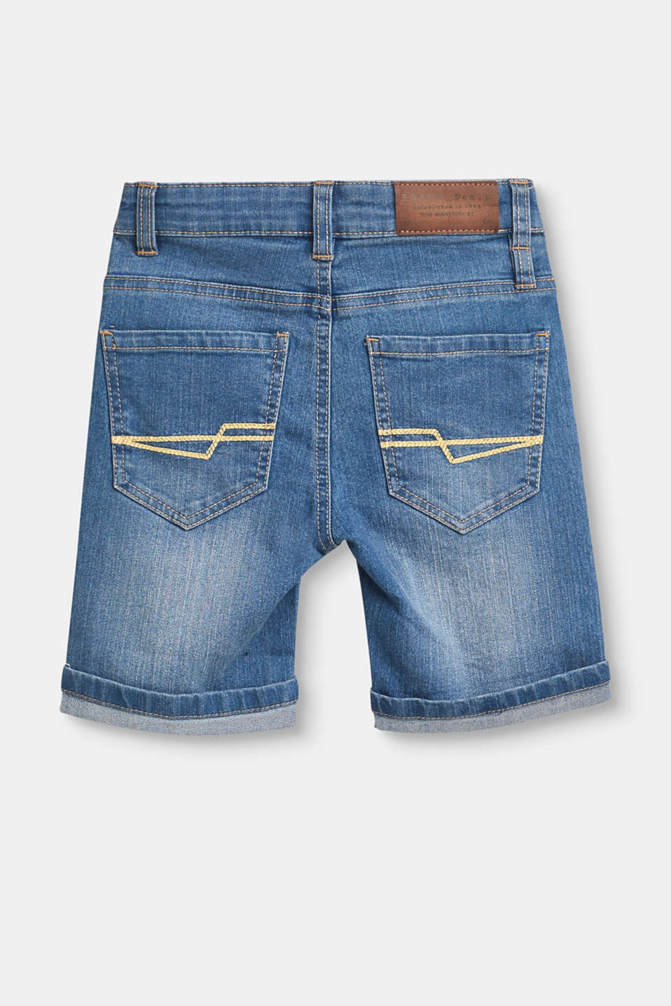 Stretch denim shorts with adjustable waistband
