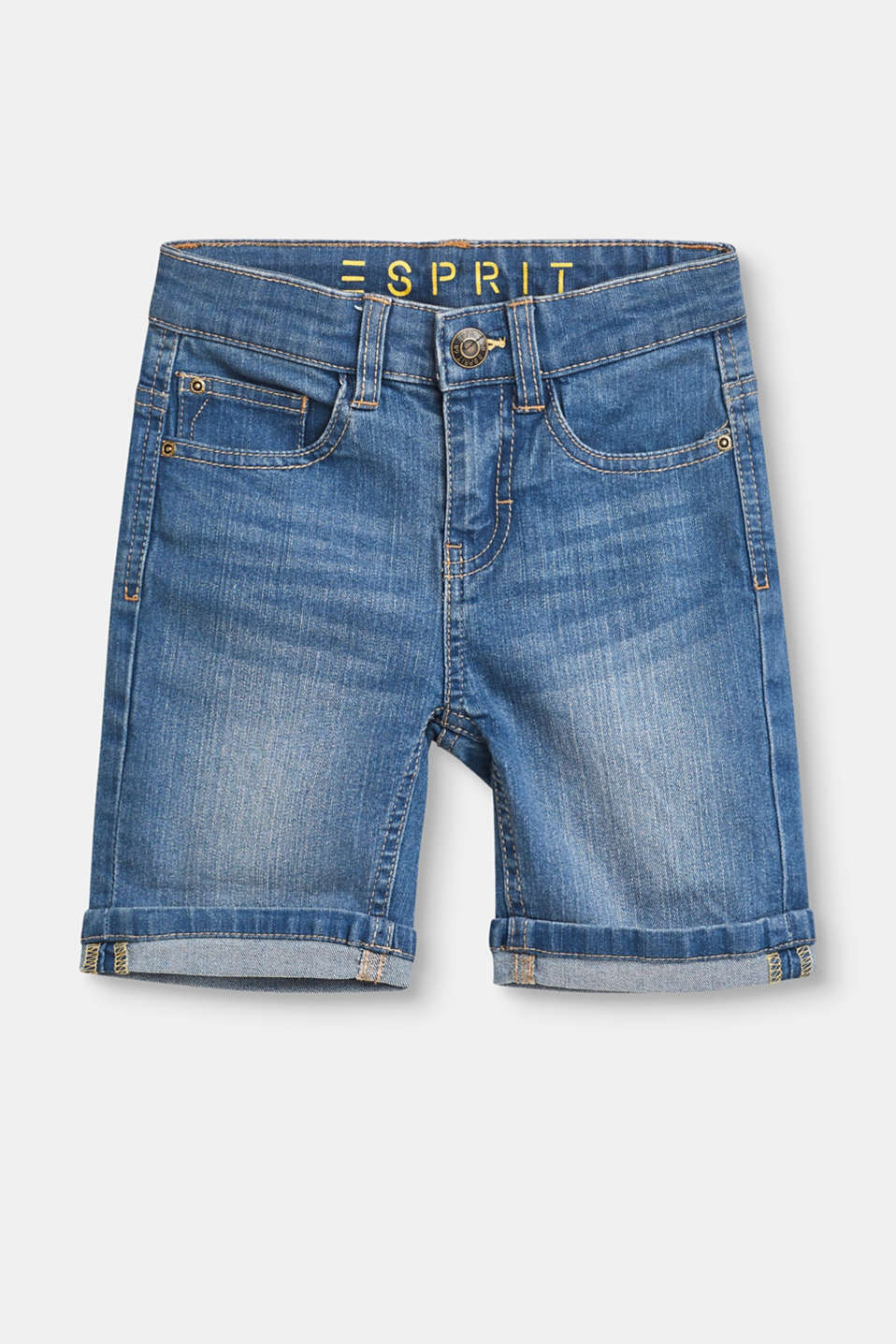 Esprit - Stretch denim shorts with adjustable waistband