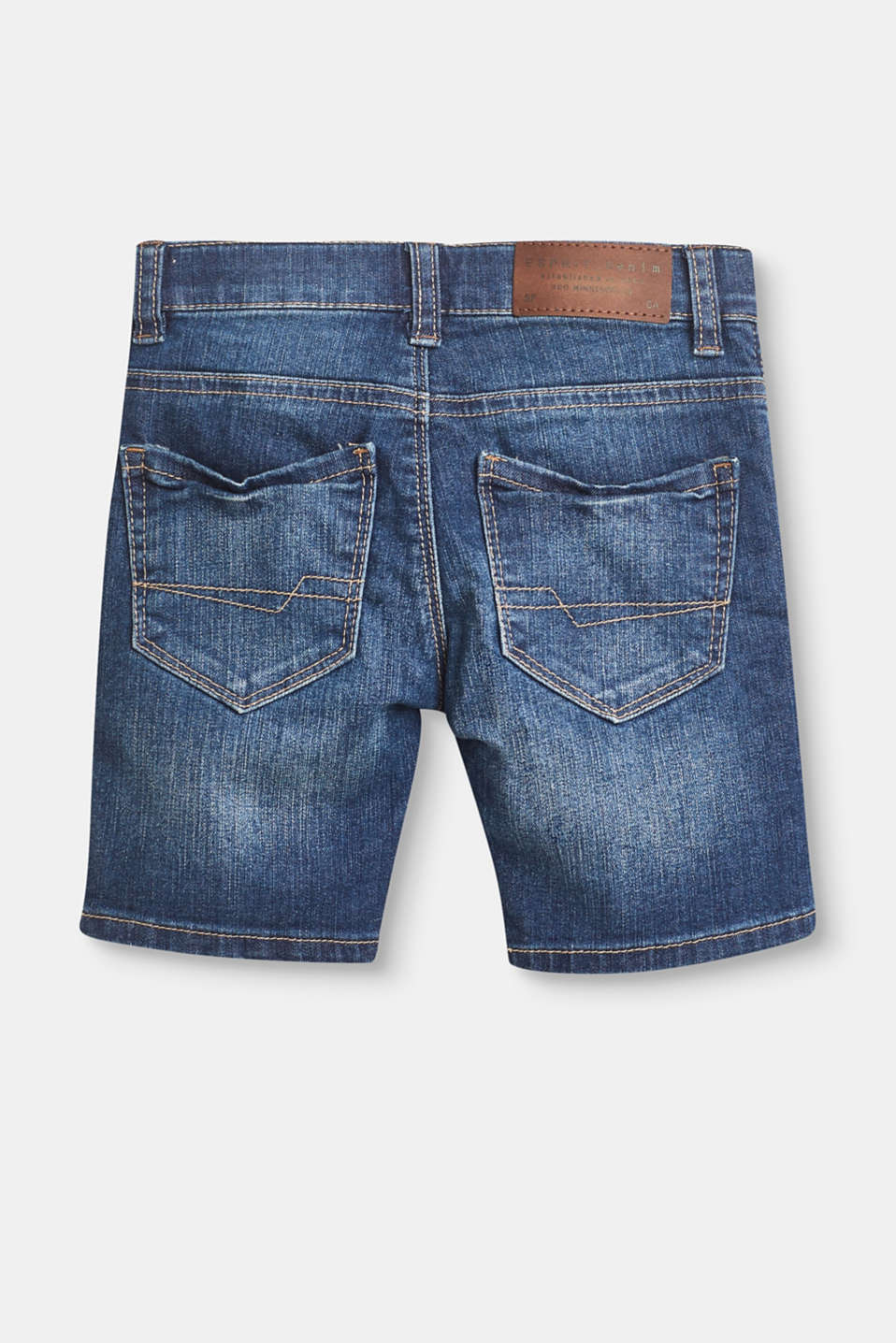 Denim short met stretch, verstelbare band en patches