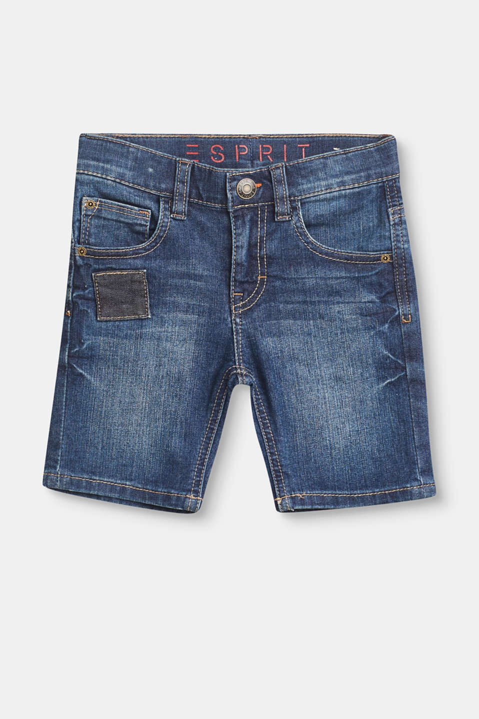 Esprit - Denim shorts with stretch, an adjustable waistband and appliqués