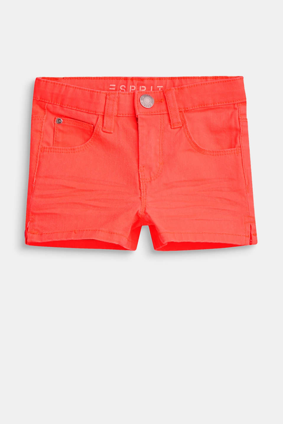 Esprit - Coloured stretch denim shorts with an adjustable waistband