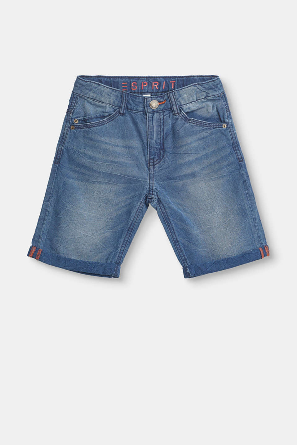 Esprit - Cotton shorts in a denim look with an adjustable waistband