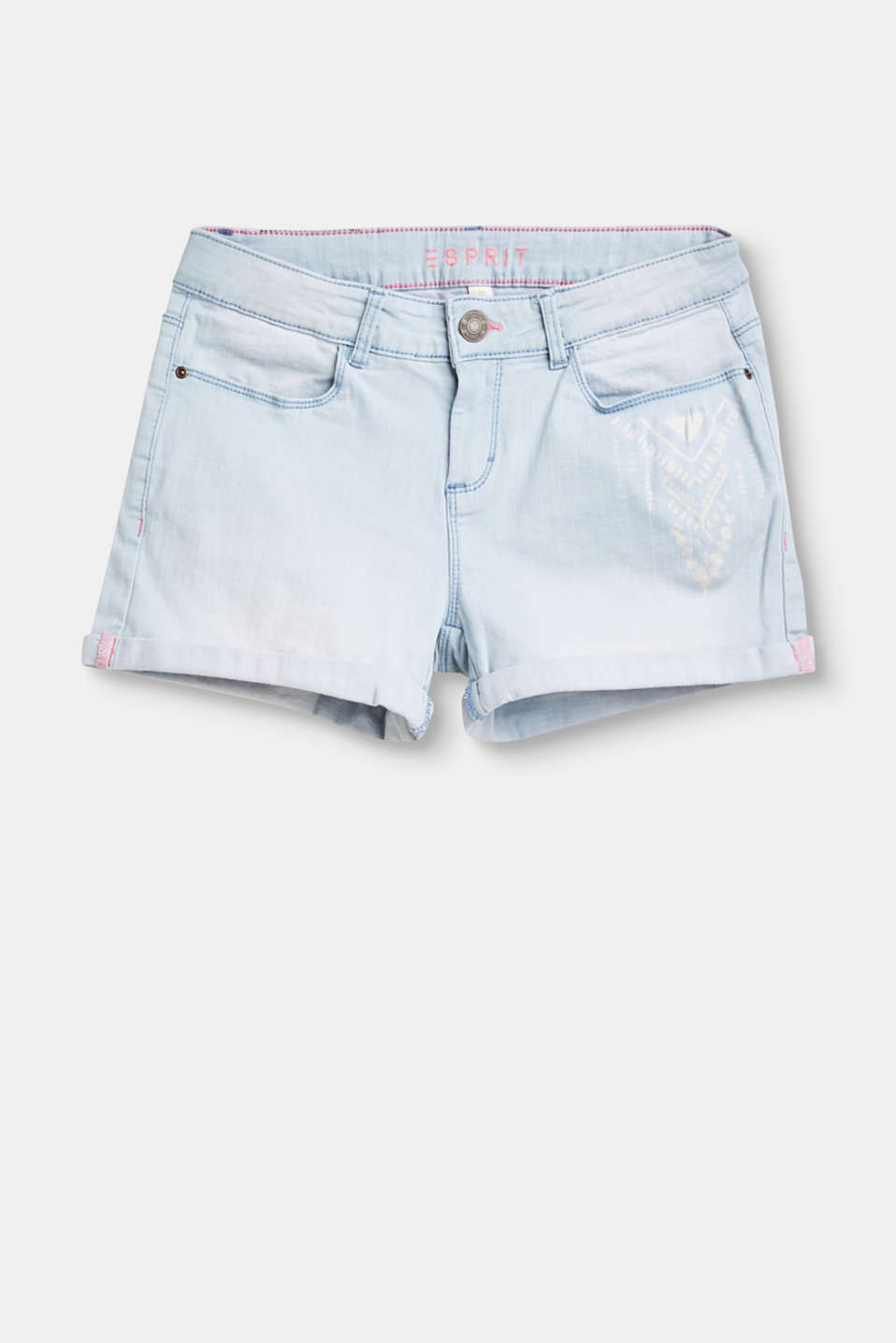 Esprit - Stretchy denim shorts with an ikat print