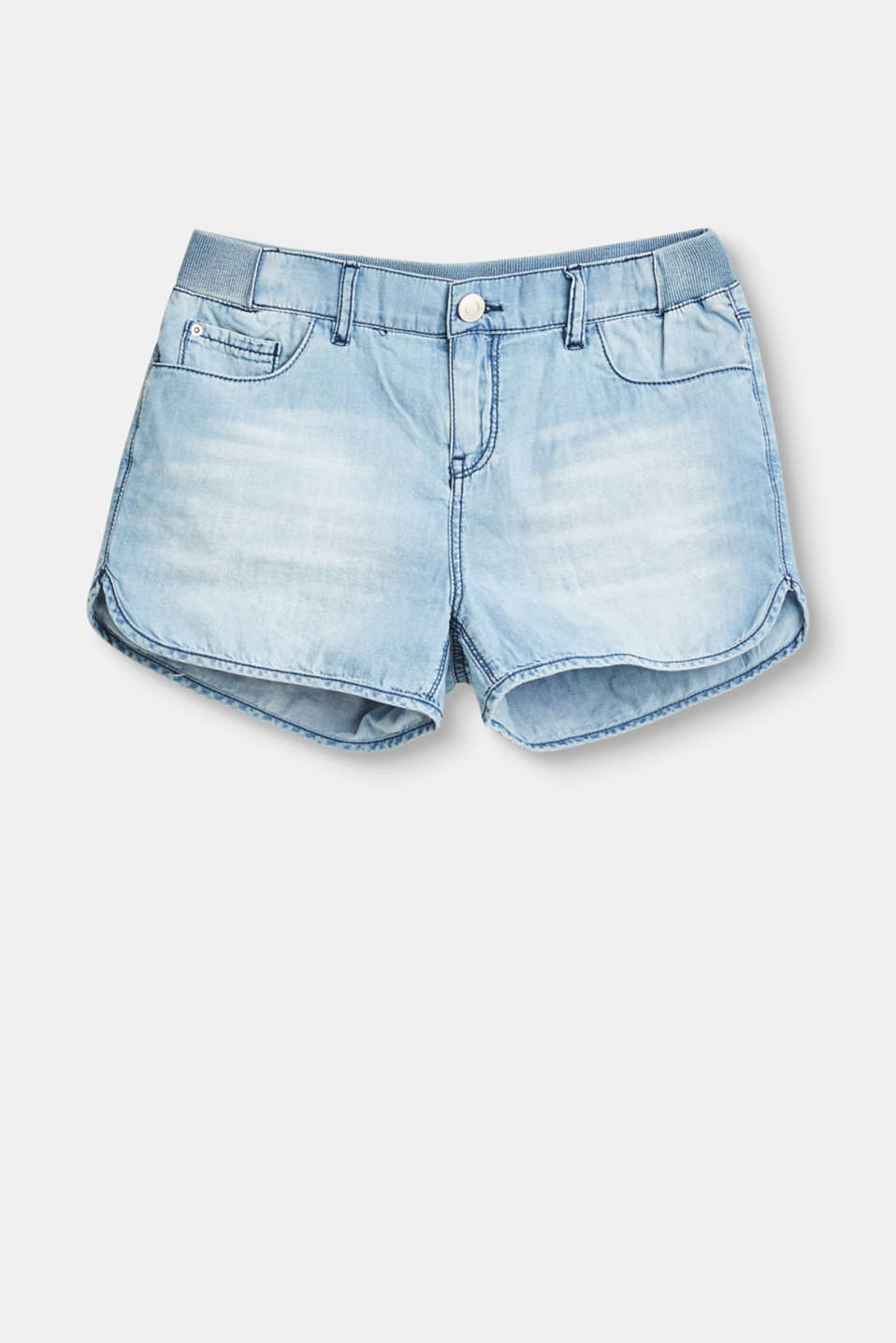 Esprit - Soft shorts in a denim look with an elasticated waistband