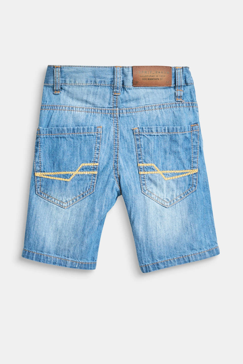 Denim shorts with an adjustable waistband, 100% cotton