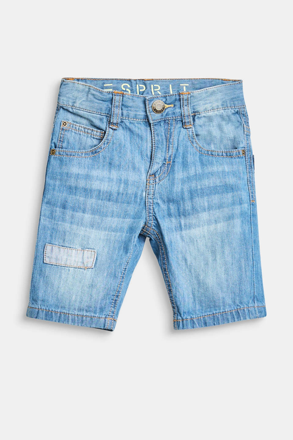 Esprit - Denim shorts with an adjustable waistband, 100% cotton
