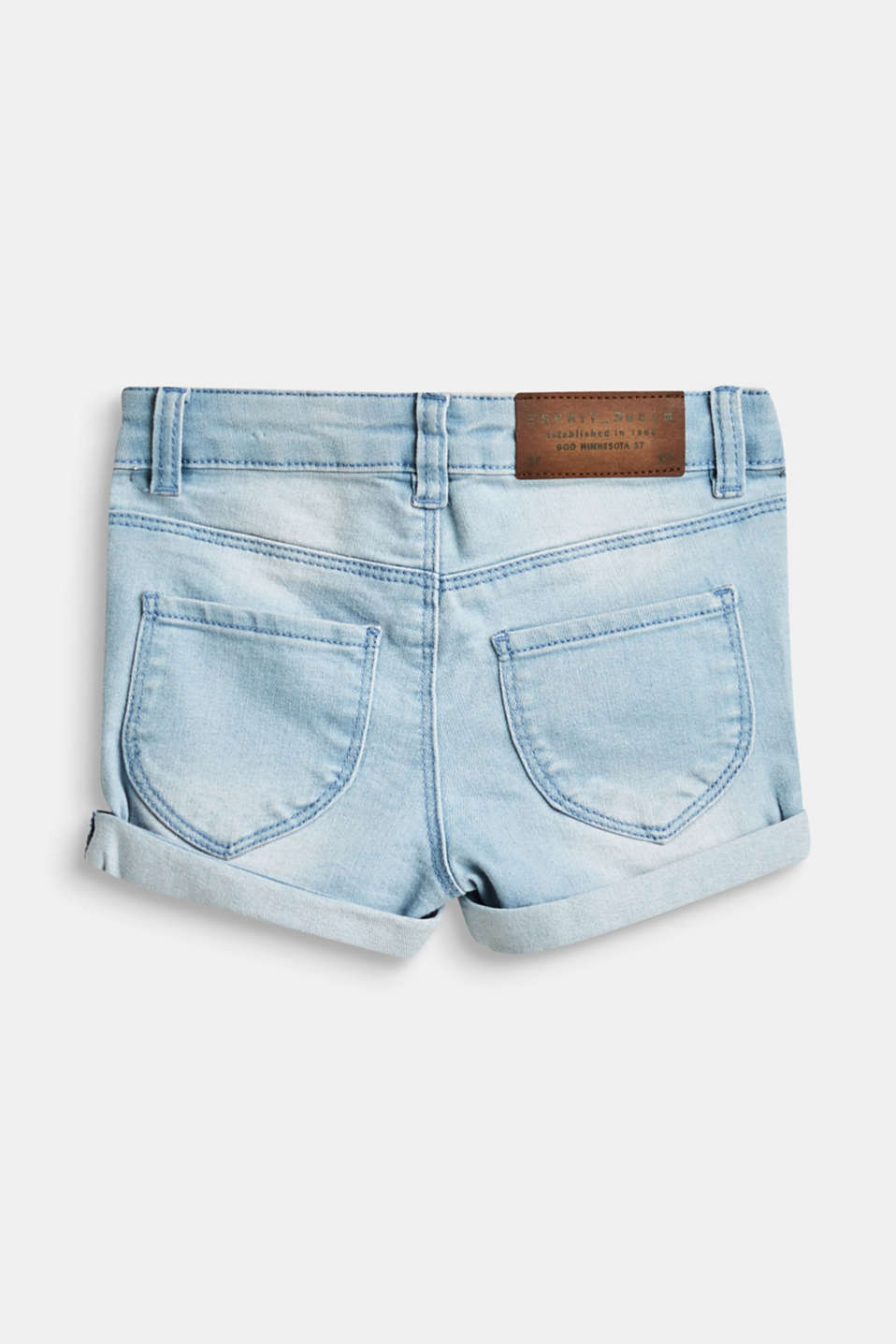 Stretch denim shorts with washed effects