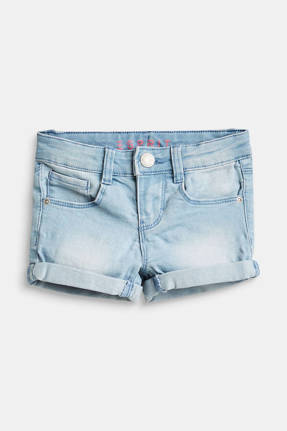 Esprit - Stretch denim shorts with washed effects