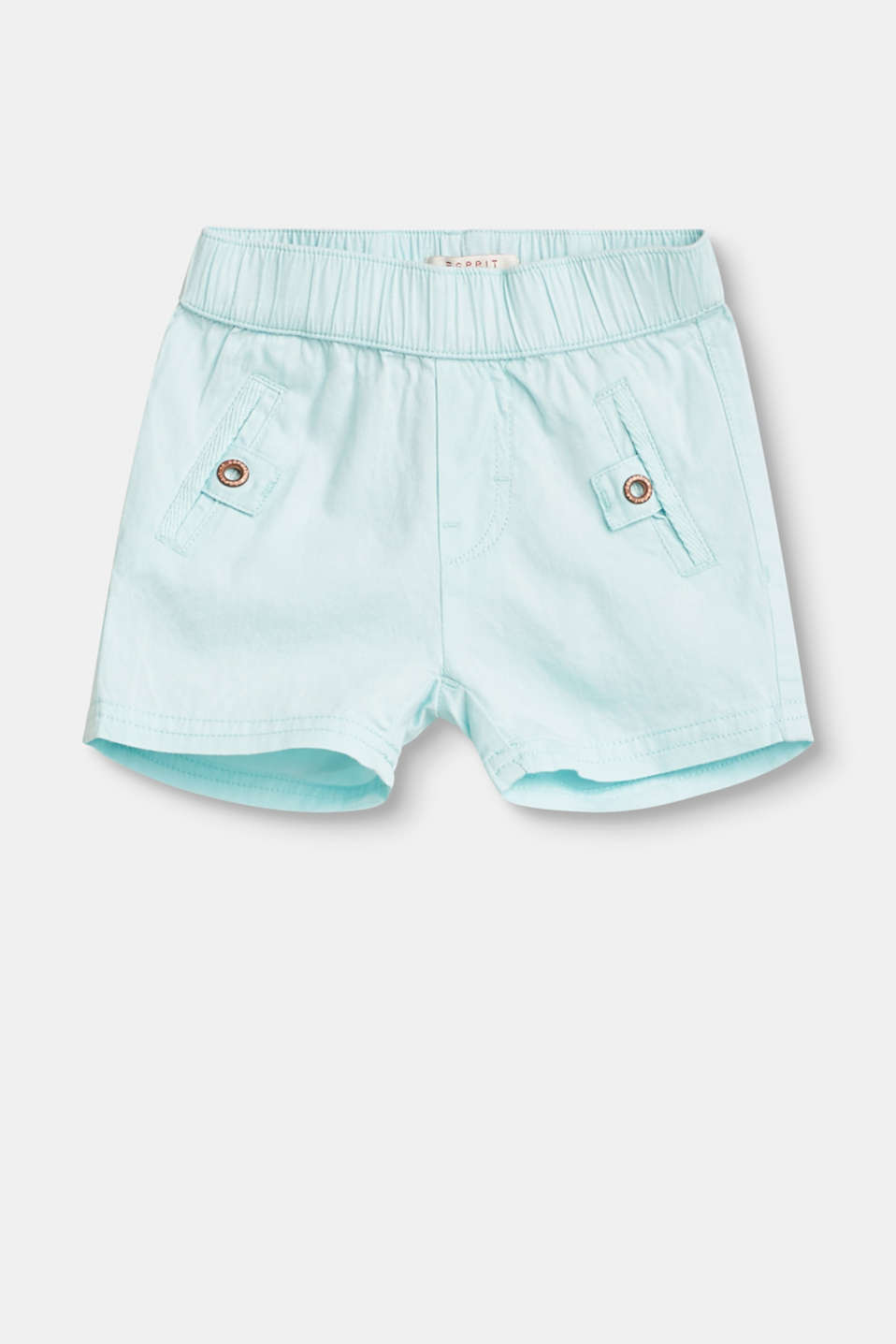 Esprit - Woven shorts with an elasticated waistband, 100% cotton