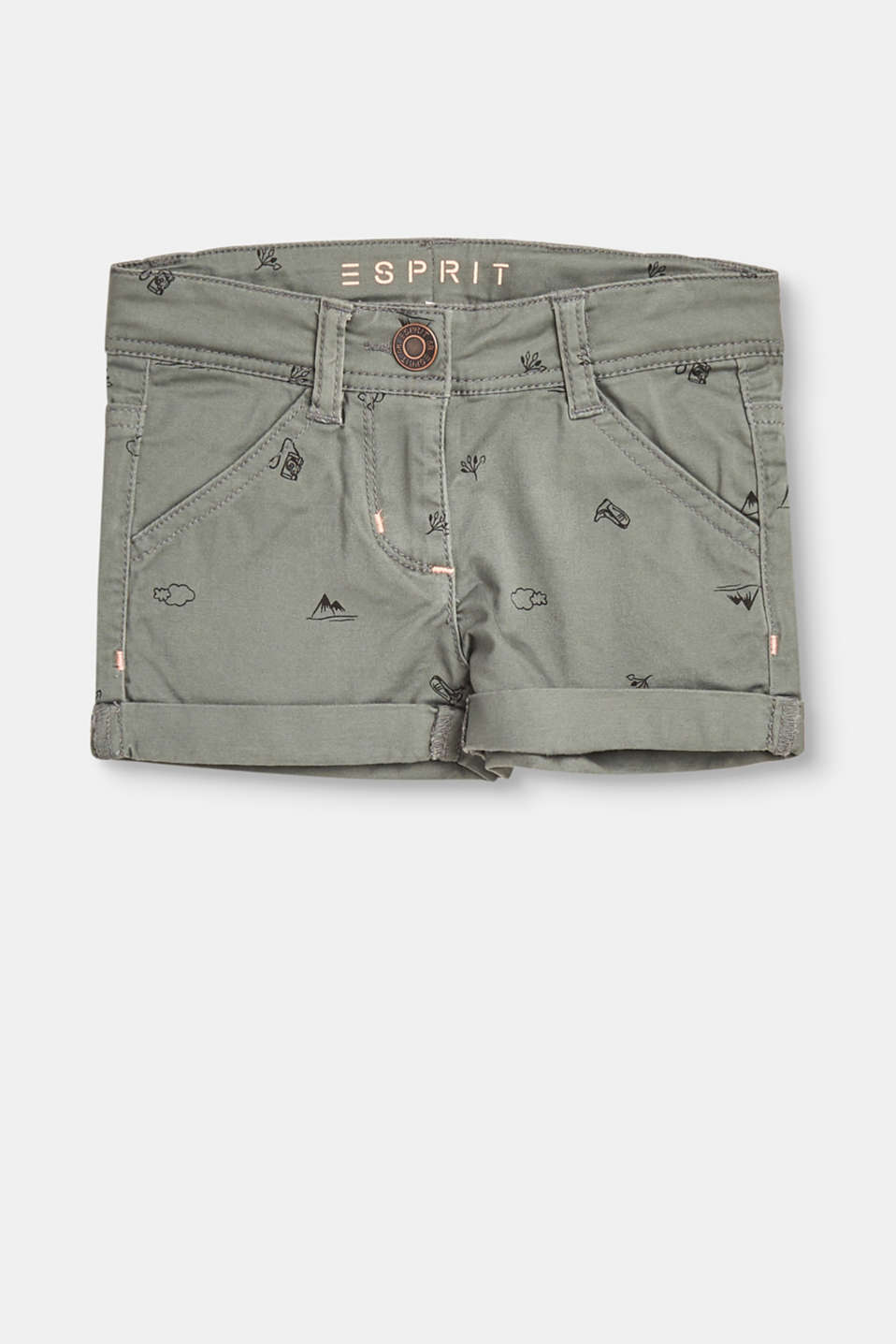 Esprit - Printed stretch cotton shorts