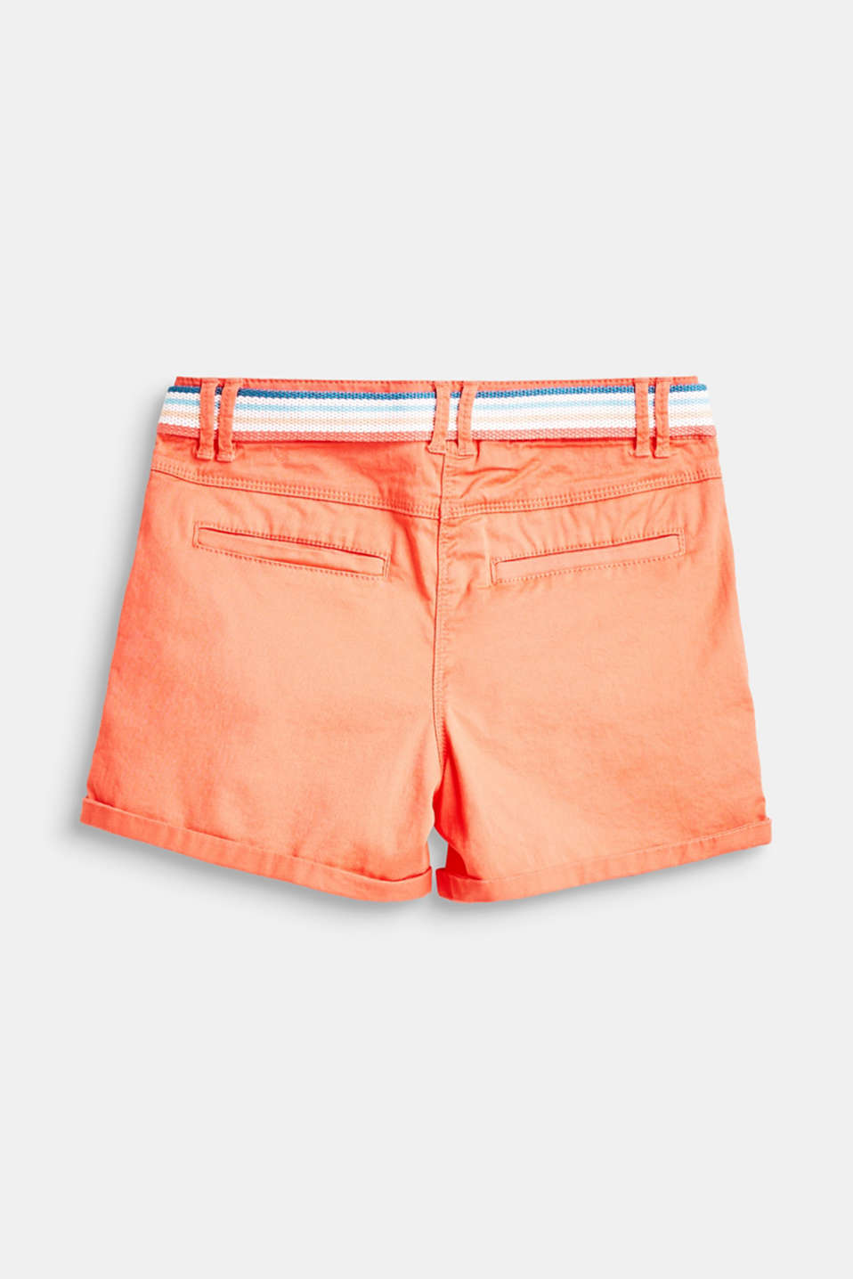 Cotton shorts with belt and adjustable waistband