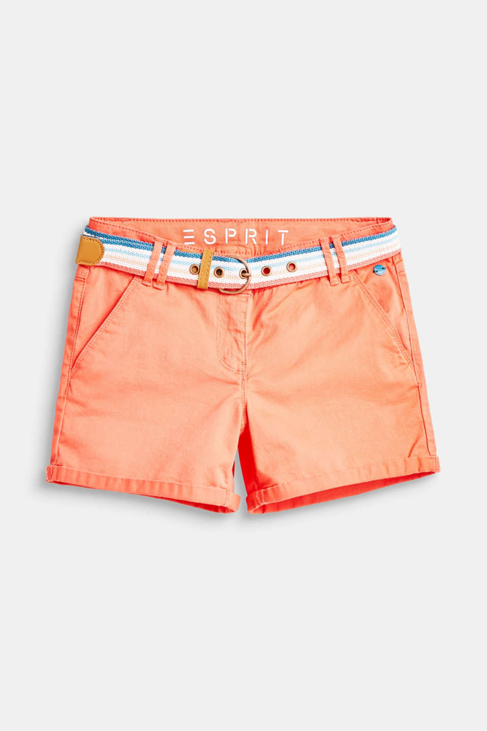 Esprit - Cotton shorts with belt and adjustable waistband