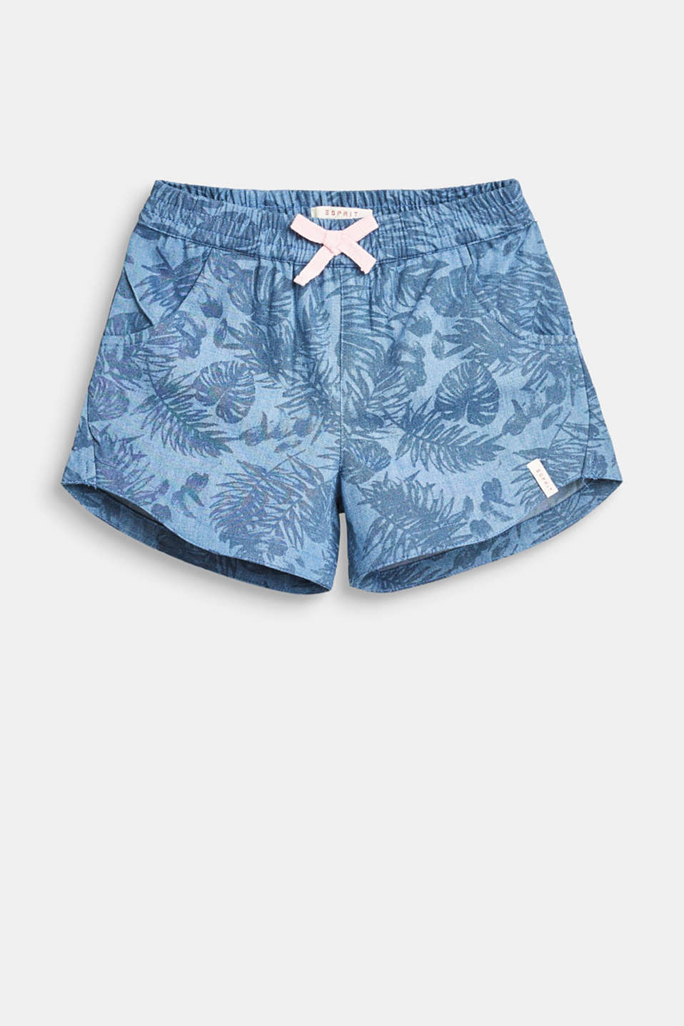 The summery palm print and contrasting colour bow give these woven cotton shorts their trendy summer look!