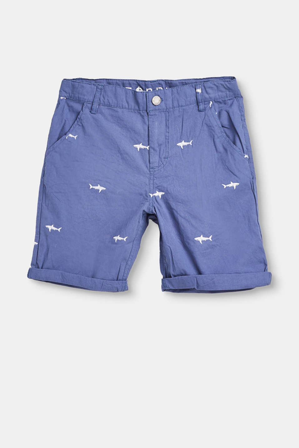 Esprit - Woven shorts with a shark print, 100% cotton